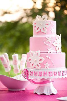 Pink Marshmellows & Pink Ribbon Cake