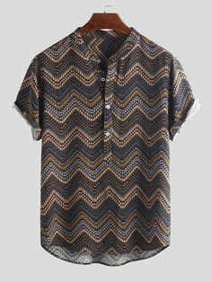 Men's Ethnic Printed Chevron Stand Collar Short Sleeve Loose Henley Shirts is best and cheap on Newchic. Mens Printed Shirts, Printed Shorts, Camisa Floral, Top Casual, Chevron, Ethnic Print, Henley Shirts, Summer Shirts, Casual Shirts For Men