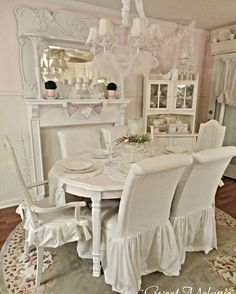 1000 images about dinning chair slipcovers on pinterest dining chair slipcovers slipcovers - Shabby chic dining room chair covers ...