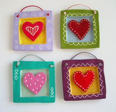 clay hearts wall art tile