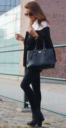 Black High Neck Cape Style Coat - Sheinside.com