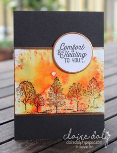 Stampin' Up! Lovely as a Tree with Brusho Micropowders