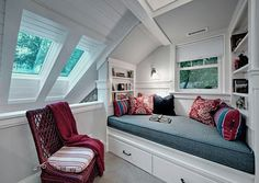 Attic Reading Nook with Small Space and Under Bed Storage