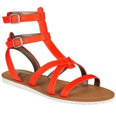 Circus By Sam Edelman Selma Gladiator Sandals ($29) ❤ liked on Polyvore featuring shoes, sandals, electric orange, orange sandals, ankle strap sandals, roman sandals, open toe sandals and gladiator sandals
