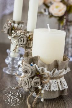 Personalized Wedding Candle Rustic Wedding Unity Ceremony Pillar Candle Burlap and Lace Unity Candle Set Votive Candle Burlap Flowers Burlap Candles, Rustic Candles, Pillar Candles, Diy Candles, Decoration Shabby, Wedding Unity Candles, Unity Ceremony, Christmas Crafts, Christmas Decorations