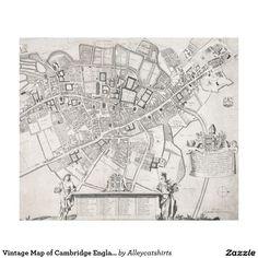 Vintage Map of Cambridge England (1690) Fleece Blanket