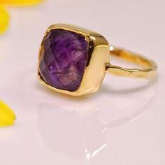 Purple Amethyst Ring February Birthstone Ring by delezhen