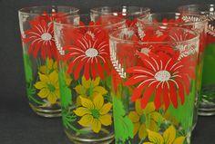 50s Floral Glasses, Swanky Swigs - via Etsy.