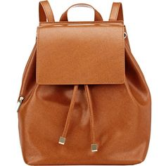 Barneys New York Women's India Mini Backpack ($149) ❤ liked on Polyvore featuring bags, backpacks, accessories, purses, brown, leather daypack, brown leather backpack, draw string backpack, mini leather backpack and mini backpack