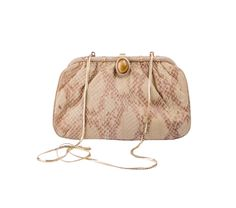 This beautifully crafted clutch purse combines pretty features with subtle hints of exotic charm. The python print adds a splash of texture with the natural stone look clasp giving this clutch an exquisite feel. Tuck the gold chain strap away for a clutch or pull it out for a delicate shoulder strap.