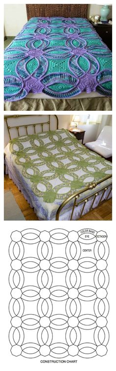 How to crochet Wedding Ring Quilt with free pattern