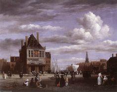 La place du Dam à Amsterdam de Jacob Isaakszoon Van Ruisdael (Ruysdael) (1628-1682, Netherlands)