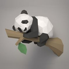 Welcome to our collection of animal papercraft sculpture templates. Paper Crafts Origami, Origami Art, Panda 3d, 3d Models For Printing, Baby Polar Bears, Colored Paper, Paper Toys, Sculptures, Diy Baby