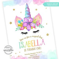 This listing is for an Adorable Magical Unicorn Birthday Invitation, embellished with pastel watercolors and gold glitter! This is the perfect invitation for all Unicorn lovers!! ★❤ ❤[ W H A T S • I N C L U D E D • W I T H • P U R C H A S E ] • A 5x7 DIGITAL PRINTABLE invitation