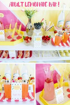 How cute is this lemonade bar for your zesty lemon themed bridal shower? And to make it even more adorable there's free printables to make your lemonade bar perfect.