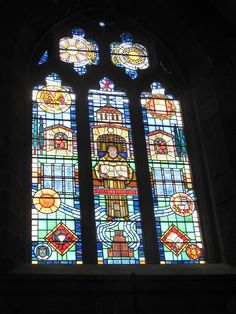 Window in Shrewsbury Abbey commemorating Ellis Peters i.e. Edith Pargetter, author of the Brother Cadfael mysteries