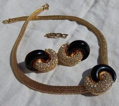 CHRISTIAN DIOR RUNWAY Gold EARRINGS & NECKLACE Set Black Crystals HAUTE COUTURE - http://designerjewelrygalleria.com/christian-dior/christian-dior-runway-gold-earrings-necklace-set-black-crystals-haute-couture/