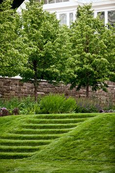 Landscape Design Ideas, Pictures, Remodels and Decor, Small Garden Landscape Design, Lawn And Landscape, Garden Design, Steep Hillside Landscaping, Large Backyard Landscaping, Back Gardens, Outdoor Gardens, Garden Stairs, Sloped Garden