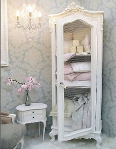 Pretty Upcycled Armoire with Chicken Wire