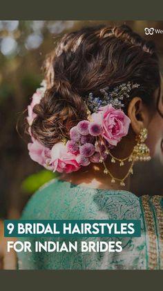 Indian Bridal Hairstyles, Braided Hairstyles For Wedding, Bride Hairstyles, Easy Hairstyles, Front Hair Styles, Curly Hair Styles, Bridal Corner, Outdoor Wedding Dress, Diy Fashion Hacks