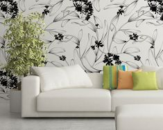 Upgrade your walls with this elegant Minimal Leaves Wallpaper Mural adding an exclusive touch to your personal style and surprise your family and friends. Temporary Wallpaper, More Wallpaper, Fabric Wallpaper, Self Adhesive Wallpaper, Cool Patterns, Textured Walls, Wall Murals, Decor Styles, Minimalism