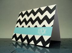 These are custom stationery cards - love them!   www.tammysoffices.com they are on Etsy. Graduation Thank You Notes Chevron Monogram by TheWhiteInvite, $15.00