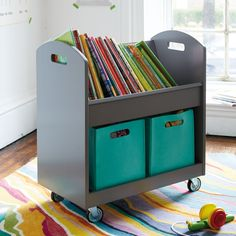 While we can't promise your house will be library quiet, we can say that our cleverly designed, library-inspired cart will help keep your kids' books stocked and organized on the shelves, just like the real things.