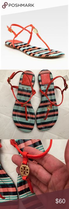 "Tory Burch Leather Thong Sandals Tory Burch ""Emmy"" patent leather thong sandals / flip flops. Color is habanero pepper/bauer. Good used condition, size 6M. Tory Burch Shoes Sandals"