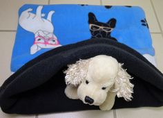 Dog Snuggle Sack Burrow Bed Sleeping Bag Blue Pet by PawPets
