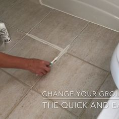 This quick DIY project lets you restore your grout to white or even change the grout color completely. And, it seals your grout to help protect it from future stains. Click to see the easy DIY tutorial. #AbbottsAtHome #HomeMaintenance #Grout #Bathroom #Tiling