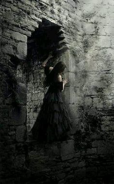 Goth Gothic fantasy. Woman, female, brick walls, black and white, stunning, fantasy art.