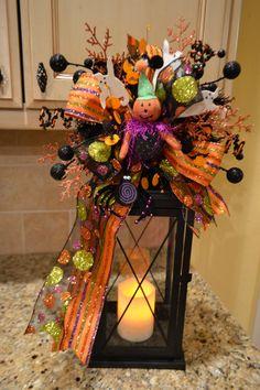 Pumpkin With Hat Halloween Lantern Swag by kristenscreations