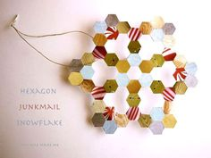 Hexagon snowflake DIY - a clever honeycomb ornament from Michele Made Me:
