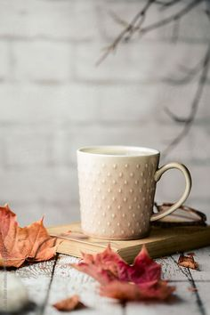 Coffee and autumn leaves by Ruth Black - Coffee, Fall - Stocksy United Coffee And Books, Coffee Love, Coffee Art, Coffee Photography, Autumn Photography, Autumn Flatlay, Winter Coffee, Autumn Cozy, Autumn Rain