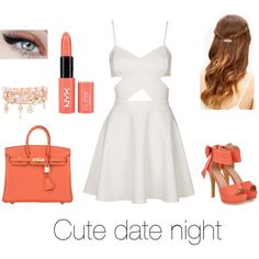 Cute date night by jadebouchard on Polyvore featuring polyvore fashion style Topshop JY Shoes Hermès Henri Bendel