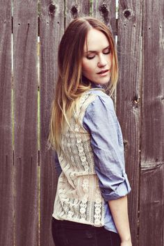 Denim and Lace Top DIY, love the top and the hair! from a beautiful mess blog