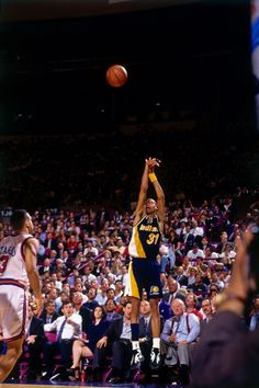 Reggie Miller fires a three against the Knicks in Game 5 of the 1994 Eastern Conference Finals.