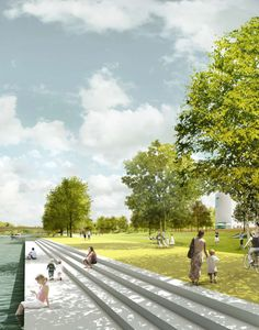 """Prize winner of the competition """"Stadt bauen."""" The older part of Saarbrücken lost its urban open space relationship to the river due to the cons. Landscape Edging, Landscape Plans, Fantasy Landscape, Urban Landscape, Abstract Landscape, The River, River Park, Landscape Architecture Perspective, Villa Architecture"""