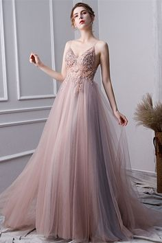 Pink A Line Spaghetti Straps Tulle Beaded Prom Dresses With Appliques A-Line Prom Dresses, Sleeveless Prom Dresses, Pink Prom Dresses, Prom Dress, Prom Dresses With Appliques Prom Dresses 2020 Straps Prom Dresses, Beaded Prom Dress, Pink Prom Dresses, A Line Prom Dresses, Cheap Prom Dresses, Tulle Dress, Pink Dress, Evening Dresses, Pink Tulle