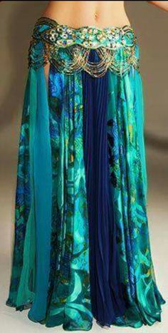 Gypsy Maxi Skirt in Greens and Blues, Slits from the Hip and Gold Chain Detail