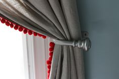 plain ikea curtains with a red pop. Diy