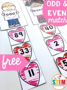 This free valentine's themed odd and even math sort is the perfect activity for math centers with kindergarten and first-grade kids this February! Centers First Grade, Second Grade Math, Math Centers, Grade 1, Free Math Games, Maths Puzzles, Number Puzzles, Valentine Theme, Even And Odd