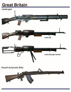 Great Britian Lewis Gun, Lewis SS, Lewis Savage Varient, Howell Automatic Rifle