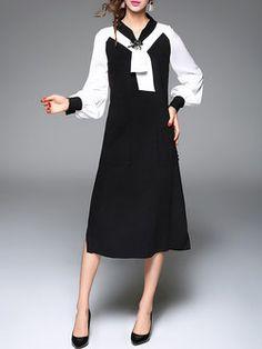 Black Elegant Bow Color-block Midi Dress