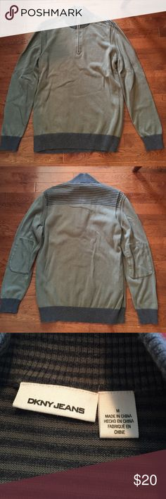 Men's DKNY jeans sweater Gray/olive with gray stripes. DKNY Sweaters Zip Up