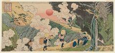Fudô Pass on the Mikuni Road in Kôzuke Province/ Hokkei 諸国名所 上野 三国越不動峠 魚屋北渓 1834~1835年頃 銃を担いだ猟師が猟犬を連れている。