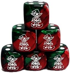 Custom & Unique {Standard Medium 16mm} 6 Ct Pack Set of 6 Sided [D6] Square Cube Shape Playing & Game Dice w/ Rounded Corner Edges w/ Christmas Elf Outline Design [Red, Green & White]