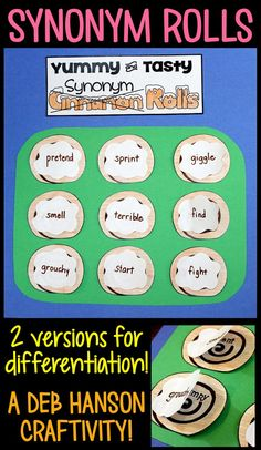 Synonym Rolls! Complete the worksheet and then assemble the craftivity! 2 versions: easier & more challenging.