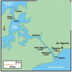 Map of Panama Canal where we went through three types of locks and ...