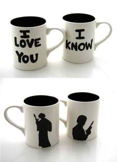 Princess Leia and Han Solo coffee mugs. Could easily DIY
